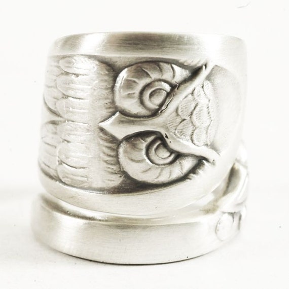 owl ring sterling silver spoon ring bird ring owl wings