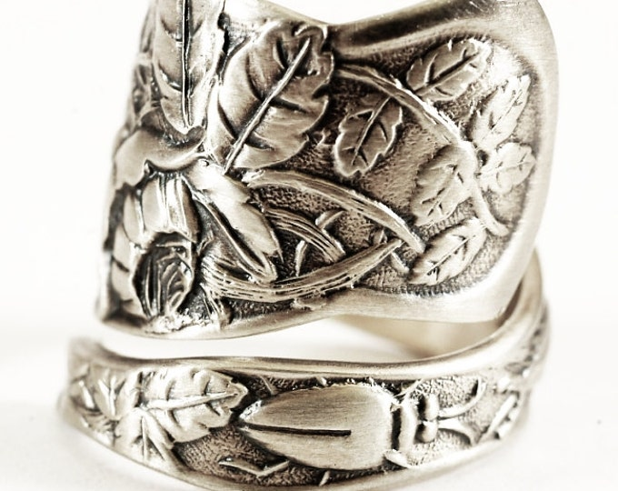 Rare Antique Rose Ring, Spoon Ring Sterling Silver, Chunky Ring, Wide Ring, Bug Jewelry, Gardener Gift, Floral Ring, Adjustable Ring (6673)