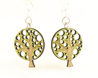 Abstract Tree Blossom - Wood Earrings