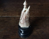 Vintage French Souvenir de ND sur Vire metal statue Saints religious icon circa 1920's / English Shop
