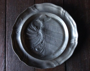 Vintage French crest heirloom symbol wallhanging pewter hanging plate circa 1950's / English Shop