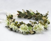 Woodland Meadow Bridal Headpiece - Flower Crown, Ivory Flower Crown, Bridal Flower Crown, Wedding Crown, Boho, Woodland, Spring Green, Fae
