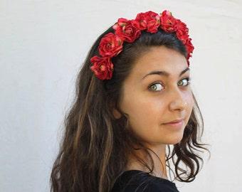 Velvet Red Rose Headband, Flower Crown, Red Velvet Rose Crown, Flower Headband, Red Rose Headband, Rose Crown,  Halo, Frida Kahlo, R08