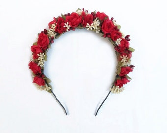 Red Rose Flower Crown, Flower Crown, Red Rose Crown, Floral Headband, Flower Girl Flower Crown, Red and White, Floral Crown, Red and White