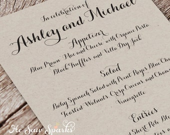 Printable Wedding Menu Card - Simply Country