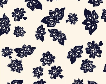 Low Country Indigo White Tossed Flowers by Nancy Gere for Windham Fabrics