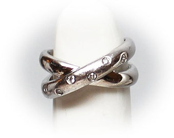 Sterling Silver Lovers Knot embellished with CZs