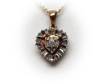 10K Diamond Cluster Heart Pendant