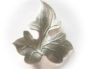 Sterling Silver Grape Leaf Brooch