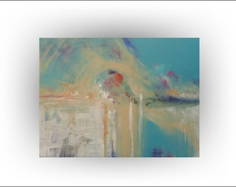 Red, turquoise and teal home decor, Red abstract art, Office decor, Master bedroom, Living room, Dining room decor, Southwest decor, 40 x 30