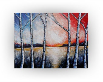 Birch Tree  Original painting Forrest Art Landscape Decor - 30 x 40- Skye Taylor