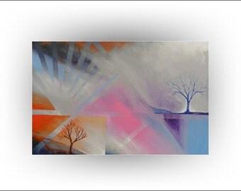 Abstract Tree Painting Original painting surreal- 24 x 36 - Skye Taylor