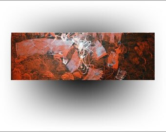 Abstract Red Painting 12 x 36 - Skye Taylor