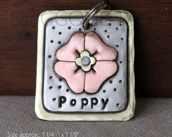 Custom dog tag- personalized flower dog tag for pets-  the Poppy