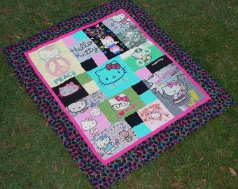 T-shirt Quilt Blanket Made from Thrifted Hello Kitty T-shirts