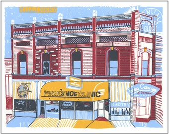 Screenprint of Cornwall Block / Moscow Wine Co / Peck's Shoe Clinic on Main Street in Moscow, ID