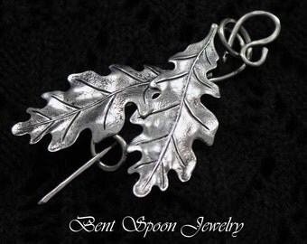 Double Oak Leaves Shawl Pin, Bent Spoon Jewelry, Shawl pin, Scarf Pin