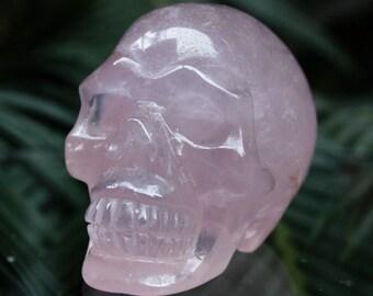 """CLEAR 2.4"""" Natural Rose Pink Quartz Carved Crystal Skull 5.29 OZ Healing C0635"""