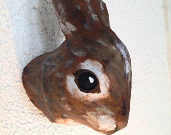 Paper Mache Rabbit Trophy Head recycled cardboard and paper