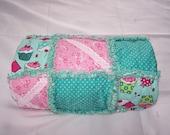 Rag quilt - baby girl rag quilt - rag throw - lap quilt - rag lap quilt - stroller throw - rag blanket - Cupcake Quilt - SA:E!!!