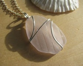 Textured Pinkish Purple Sea Glass Necklaces Wire Wrapped Beach Glass Lavender Lilac