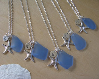 Light Blue Sea Glass Necklace Starfish Bridesmaid Jewelry Seaglass Beach Wedding Jewelry Monogram