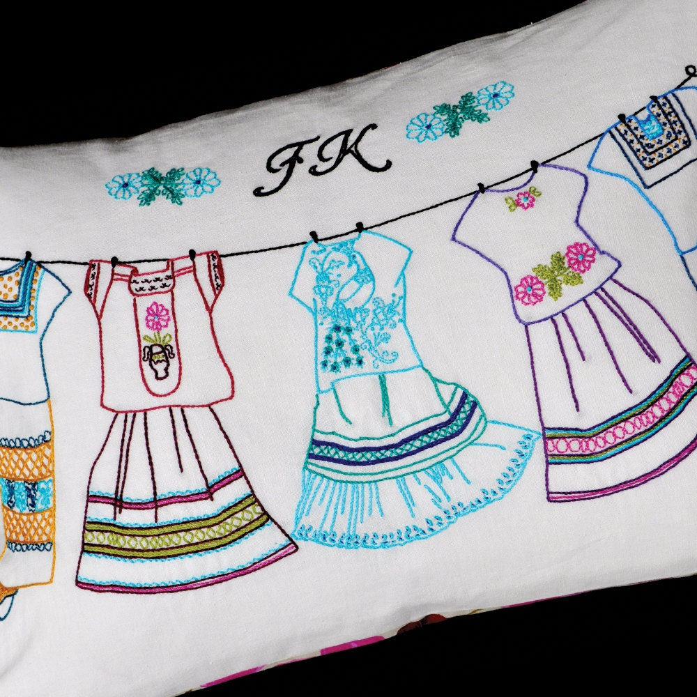 Frida s dresses hand embroidery pattern iron on transfer