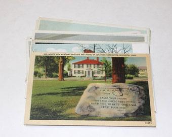 12 Vintage Lexington Massachusetts Postcards Blank - Wedding Guestbook