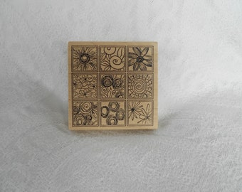 Extra Large Blocks of Flowers Rubber Stamp - Destash - Never Used - Ready to Ship
