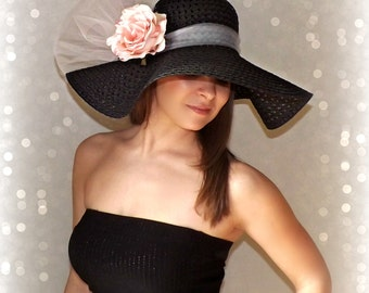 Pink Rose - Black Floppy Hat Light Pink Flower Kentucky Derby Garden Party or Weddings wide brim straw hat beach Bridal Shower