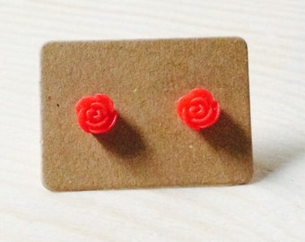 Adorable tiny red rose earrings