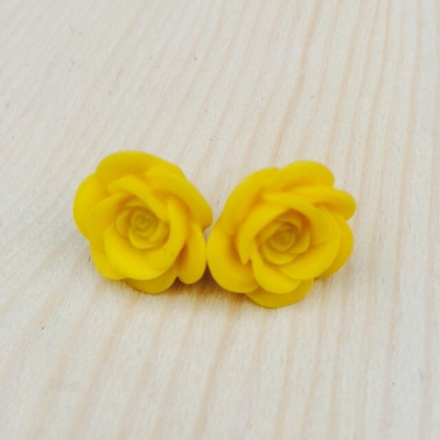 Bright yellow rose earrings