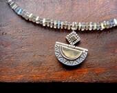 Labradorite Necklace, Pyrite Necklace, Artisan Pendant, Sterling Silver Pendant, Bohemian Jewelry, Repurposed Jewelry