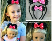 Minnie Mouse Ears Headband Girl and Doll Set