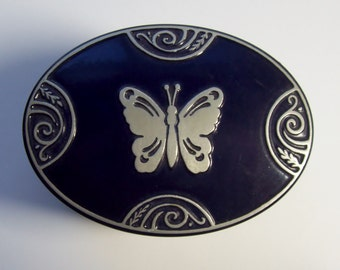 Antique Tin Enameled Powder Box Lucretia Vanderbilt Art Deco Cobalt Blue With Silver Butterfly