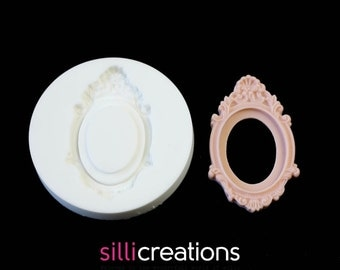 Sillicreations mold CAMEO FRAME Victorian foodsafe silicone mould resin fimo cabochon settings