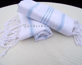 Turkishtowel-NEW Set of 2-Hand woven Peshkirs-Hand towels,Tea towels,Dish towels,Neck Warmers,Bath Towels-Pale Blue stripes on White