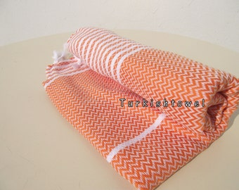 Turkishtowel-2015 Collection-Hand woven,medium weight,very soft,ZİGZAG pattern,Bath,Beach,Travel,Wedding Towel-Orange,white stripes