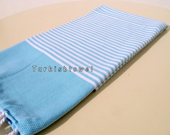 Turkishtowel-NEW Colors, Soft-High Quality,Hand Woven,Cotton Bath,Beach,Pool,Spa,Yoga,Travel Towel-Turquoise,White Stripes