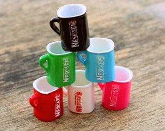 6 NESCAFE Coffee Tea Cup Charms..kitsch. retro. earrings. beads. jewelry. kitschy charms. big. tea party. large charms. white. red. pink.
