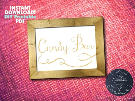 Printable Gold CANDY BAR Sign Pdf Template Instant Download