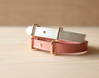 YC Fine Stitched Leather Bracelet(Pink)