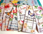 Bookmarks - Vintage French Florist Shop Garden Fence Flowers Floral Rose Butterfly Butterflies Insects - Set Of 6 Small Paper Bookmarks