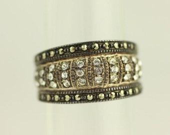 Vintage Size 7 Judith Jack Sterling Silver Ring Marcasite Cz (ET32)