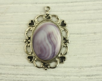 Vintage Sterling Silver Pendant Purple Shell Pretty Design Frame (ET238 )
