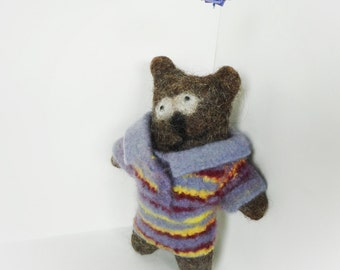 Felted bear. Natural wool toy. Eco-friendly toy. Rustic home decor. Bernat