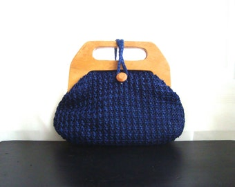 Bermuda Bag in Navy Blue Raffia, Summer Handbag