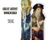 printable famous artist bookmarks including Da Vinci, Van Gogh, DIY bookmarks college sheet