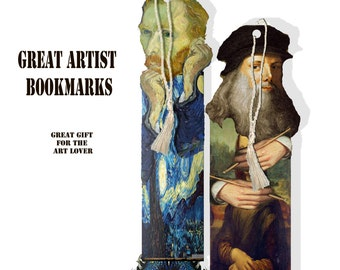 printable famous artist bookmarks including Da Vinci, Van Gogh, DIY bookmarks college sheet