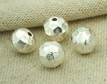 4 of Karen Hill Tribe Silver Hammered Round Beads 8.5x9 mm. :ka4037